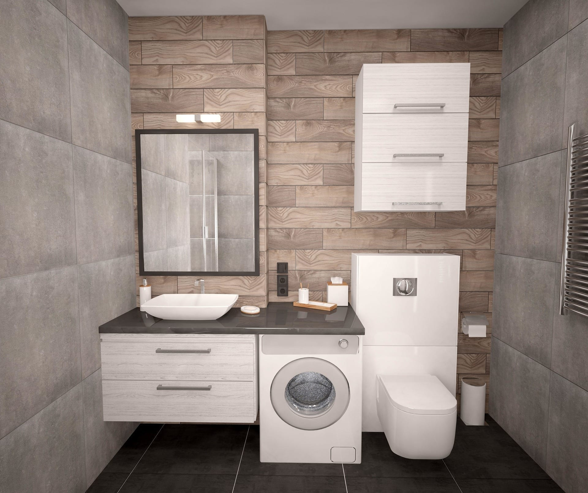 Modern bathroom with washer/dryer incorporated into design