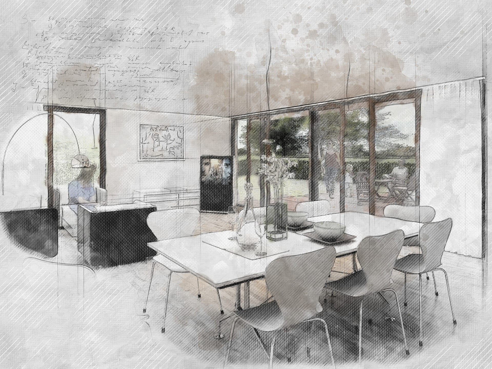 Sketch of an all white dining room with large windows