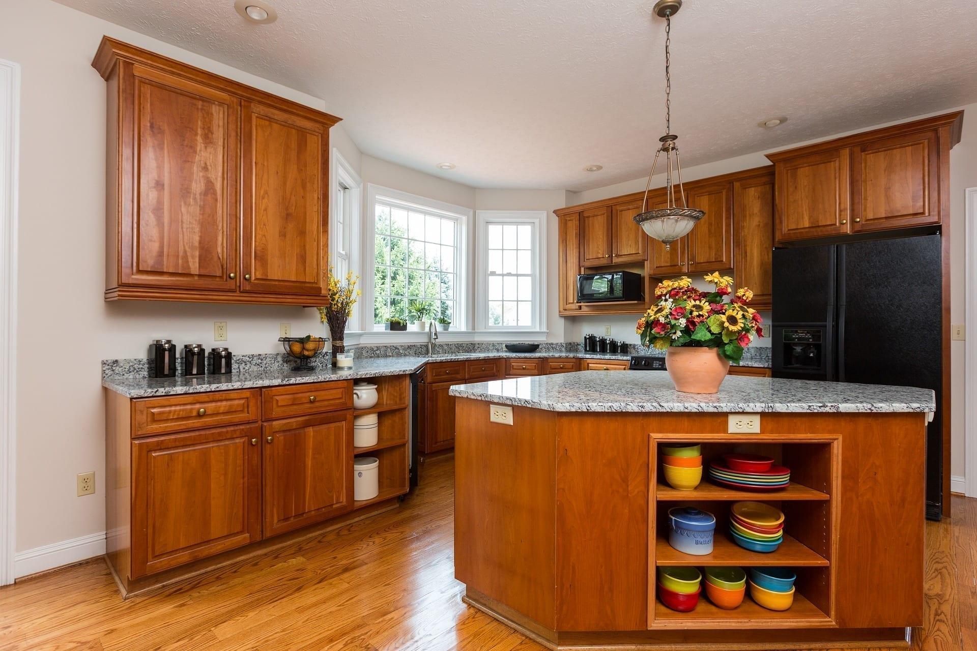 Kitchen that incorporated kitchen organization ideas like repurposing the kitchen island